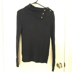 Tommy Hilfiger navy cowl neck button up sweater
